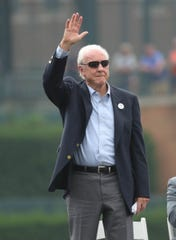Al Kaline is introduced before a ceremony honoring Detroit Tigers Hall of Fame short stop Alan Trammell Sunday, August 26, 2018, at Comerica Park in Detroit, Mich.