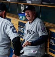 Former Tigers outfielder Al Kaline, center, reacts as he watches outfielder Mickey Stanley walks into the dugout during Detroit Tigers celebration of the 50th anniversary of 1968 World Series championship at Comerica Park in downtown Detroit, Saturday, September 8, 2018.