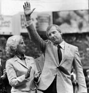 Al Kaline with his wife Louise at an infield ceremony to retire the No. 6 jersey he wore during his Detroit Tigers baseball career.