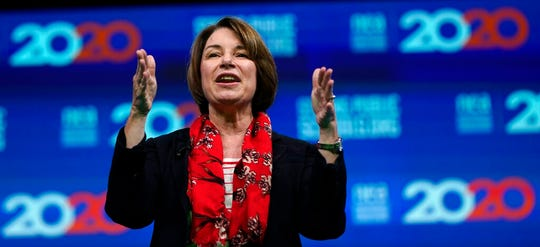 Democratic presidential candidate Sen. Amy Klobuchar, D-Minn., speaks during the National Education Association Strong Public Schools Presidential Forum Friday, July 5, 2019, in Houston.