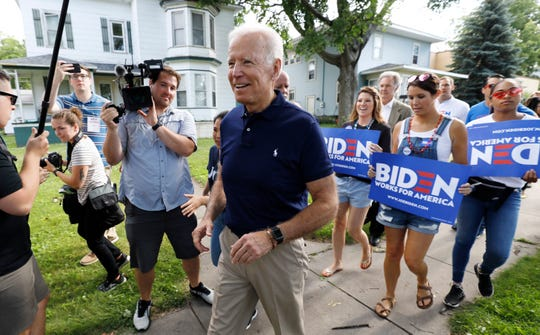 Former vice president and Democratic presidential candidate Joe Biden arrives to walk in the Independence Fourth of July parade, Thursday, July 4, 2019, in Independence, Iowa.