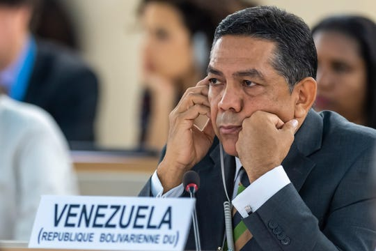 William Castillo, Vice Minister of Foreign Affairs of Venezuela, talk about the situation of human rights in Venezuela, during the 41th session of the Human Rights Council, at the European headquarters of the United Nations in Geneva, Switzerland, Friday, July 05, 2019.