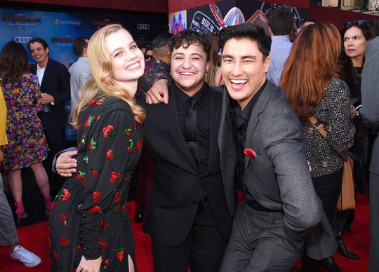 """This June 26, 2019 photo released by Sony Pictures shows, from left, Angourie Rice, Zach Barack and Remy Hii at the world premiere of """"Spider-Man: Far From Home"""" at the TCL Chinese Theatre in Los Angeles."""