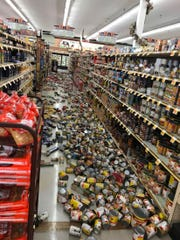 Food fell from shelves on the floor at the Stater Bros. on China Lake Blvd., in Ridgecrest, Calif., Thursday.