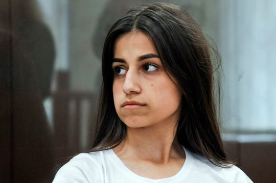 Angelina Khachaturyan attends hearings in a court room in Moscow, Russia.
