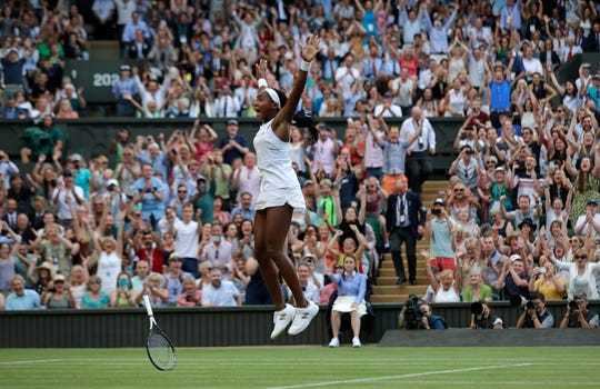 Coco Gauff celebrates after beating Polona Hercog on Friday.