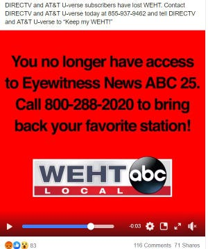WEHT Channel 25 viewers woke up Thursday morning to find DIRECTV had dropped the local station's programming.