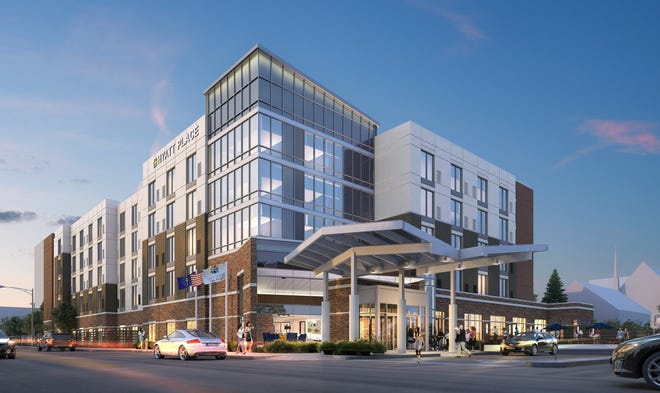 A rendering of what the Hyatt Place in Downtown Evansville will look like upon completion.