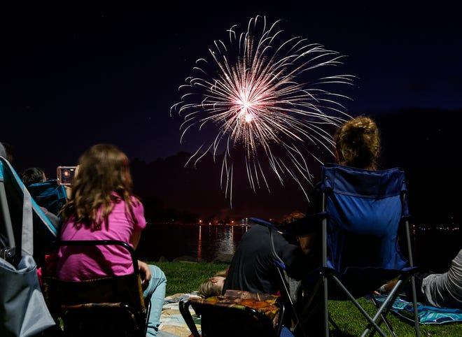 Hundreds of people gathered Thursday, July 4, 2019, at the Fourth of July fireworks display in Lakeside Park in Fond du Lac, Wis.