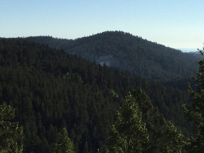 Smoke can be seen in the distance from the Beaver fire