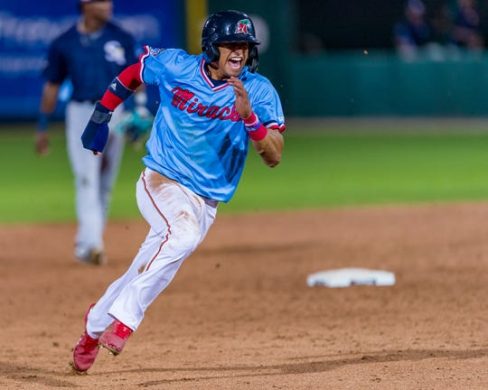 Fort Myers Miracle shortstop and Twins No. 1 Prospect Royce Lewis rounding the bases in Fort Myers' home-opener.