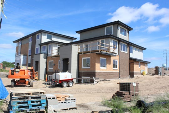 Construction continues on the first eight units of the Rail Yard Condominiums.