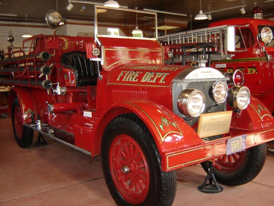 This 1920 Oldsmobile fire engine is one of three restored engines in the replica of the Pioneer Fire Company station at the Door County Historical Museum in Sturgeon Bay. David Siegel of the Green Bay Metro Fire Department gives a program on the ideas behind, and operation of, the station's vintage firefighting equipment in a July 13 program.