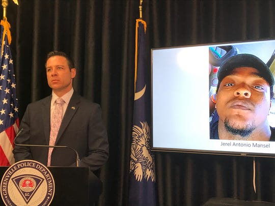 Greenville Police Lt. Jason Rampey speaks at a press conference after an arrest was made in the shooting death of Jerel Antonio Mansel on Wednesday, July 3