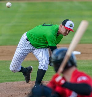 Great Falls Voyagers pitcher Carter Love delivers to the plate during Wednesday's game against the Billings Mustangs at Centene Stadium.