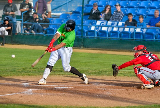 Great Falls Voyagers batter Harvin Mendoza, pictured in a July 3 game against Billings, collected a pair of hits, scored three times and drove in a run Saturday night in an 11-10 slugfest over Idaho Falls at Centene Stadium.