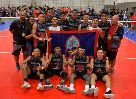 The Guahan Boys 18-1 team after their victory over the Vegas Elite 18 Black team to win the Flight 3 bracket at the 2019 Boys' Junior National Volleyball Championships in Dallas.