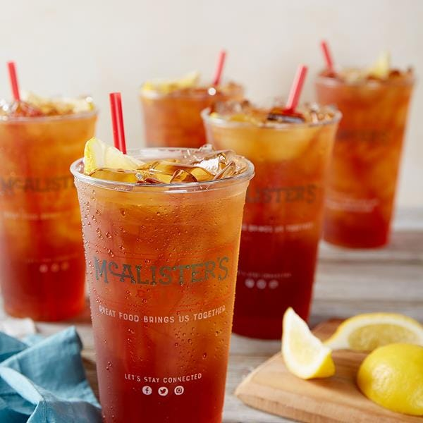 McAlister's Deli will be giving away Sweat Tea to the first 100 guests during the grand opening Monday in Burlington.