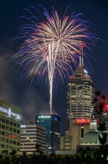 The Downtown Freedom Fest fireworks show attracted residents to downtown Indianapolis, Thursday, July 4, 2019, filling American Legion Mall, Monument Circle and the streets of downtown with festive red, white and blue attire.