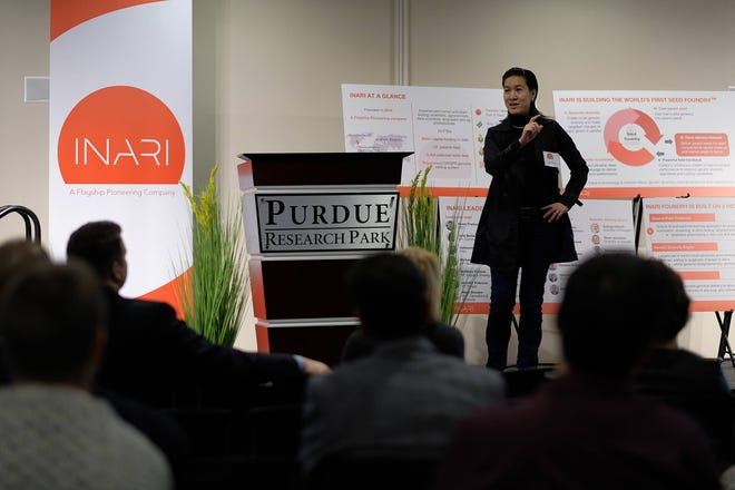 Ponsi Trivisvavet, CEO of Inari, talks Wednesday, Nov. 7, 2018 about why the Cambridge, Massachusetts, company decided to expand its operations to the Purdue Research Park business complex in West Lafayette.