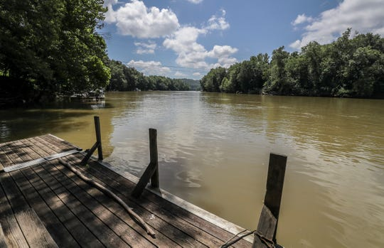 The view from the property of Jason Combs whose property ends at the Kentucky River just downstream from the Jim Beam warehouse that burned.July 5, 2019