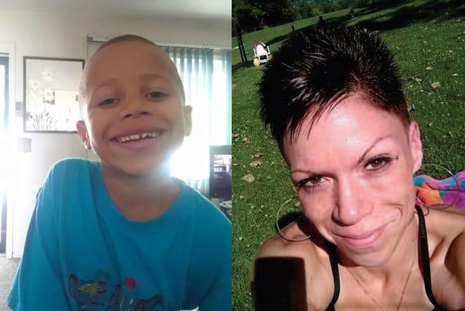 Aubrey Hall (left) and his mother, Danielle Steiner