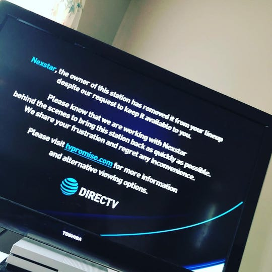 DirecTV and AT&T subscribers in the Lansing and Jackson areas woke up to this message July 4 when they tried to access WLNS-TV, a local CBS affiliate.