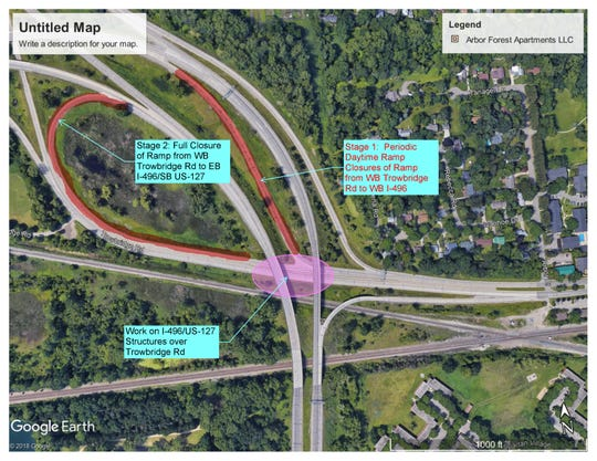 MDOT announced construction project on Trowbridge Road ramp to westbound I-496 in July, 2019.
