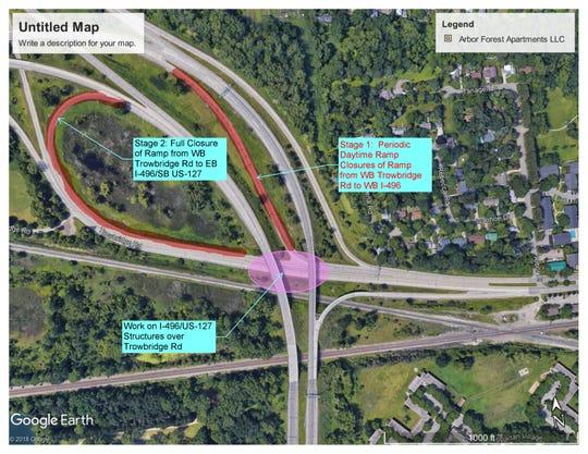 Road work on Trowbridge ramp to westbound 496 planned in East Lansing