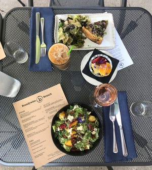 A quiche of the day and grilled peach and romaine salad are some of the items served at the new Saturday brunch at Brandywine in Cedarburg.
