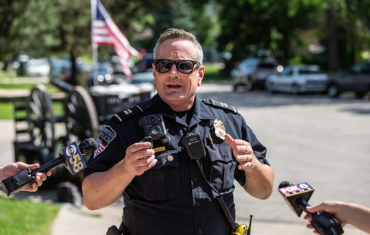 Greenfield Police Captain Ray Radakovich explains the reasoning behind a negotiated ceasefire of Frank Markel's annual Fourth of July cannon firing tradition on Thursday, July 4, 2019. The department has agreed to work with Markel to possibly amend city ordinances and allow the tradition to continue next year.