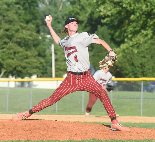 Lockeroom's Gage McClain pitches during a recent game at Cooper Park. Lockeroom is off to a 2-0 start in a tournament in Bartlesville, Okla.