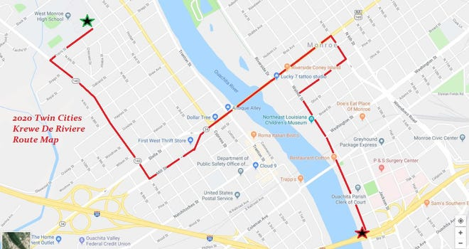 The inaugural Twin Cities Krewe De Riviere parade will start near West Monroe High School and end near the Ouachita Parish Courthouse.