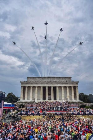 The U.S. Navy's Blue Angels fly over Washington, D.C. during the Independence Day celebration.