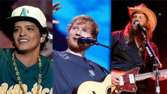 "Bruno Mars, Ed Sheeran and Chris Stapleton teamed for anew song, ""Blow."""