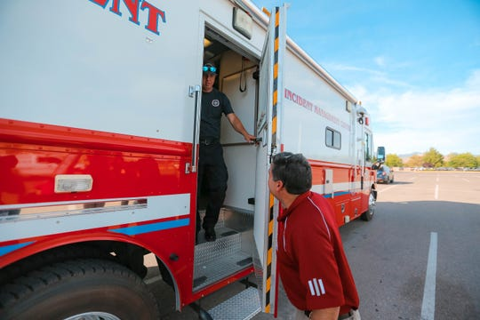 NMSU Fire Chief Johnny Carrillo shows the mobile fire unit truck in behind the scenes tour at the annual 4th of July Celebration on NMSU campus on Thursday, June 4, 2019.