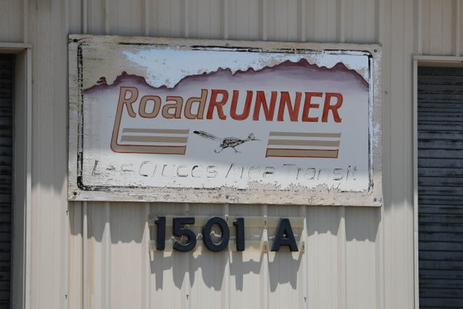 A sign is pictured at the station at the Dial-a-Ride RoadRunner Transit station near Hadley Avenue and Solano Drive in Las Cruces on Friday, July 5, 2019.