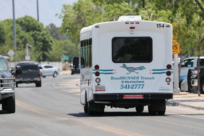 A bus leaves the station at the Dial-a-Ride RoadRunner Transit station near Hadley Avenue and Solano Drive in Las Cruces on Friday, July 5, 2019.