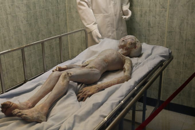 A display shows an alien on an operating table, July 5, 2019 in Roswell.