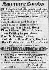 P. Collins advertisemant in the St. Landry Whig in 1845