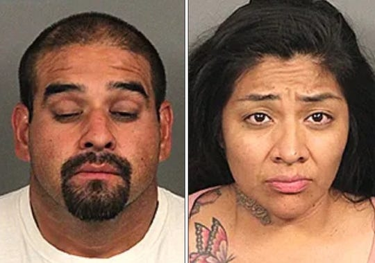 Matthew Hernandez, 36, of of Coachella, and Jacqueline Reyes, 34, of Indio, were involved in a crash in Coachella early Monday, July 5, 2019, but fled the scene. They were taken into custody nearby on several charges related to the crash.