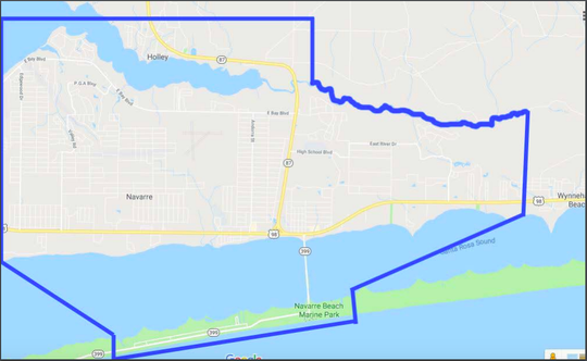 The blue lines show the proposed boundary for an incorporated Navarre.