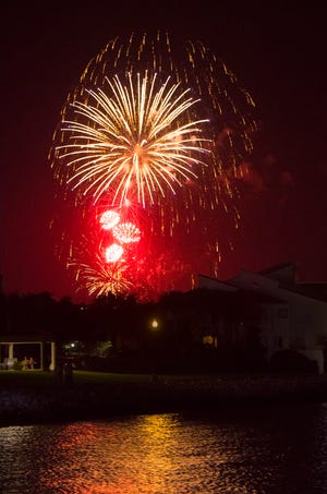 Sertoma's 4th of July Fireworks as seen from Maritime Park in downtown Pensacola on Thursday, July 4, 2019.