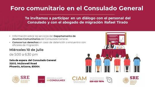 El 10 de julio, el Consulado de México en Phoenix tendrá un foro para orientar a la comunidad.