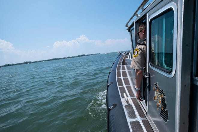 Several first responding agencies helped free a woman whose arm was stuck in the propeller tank of a jet boat in Fisher's Bay Thursday evening.