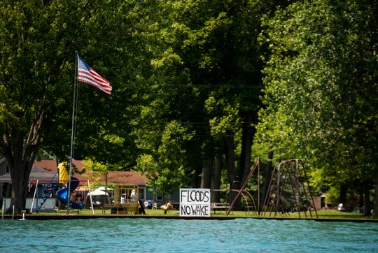 A no-wake sign can be seen at a Russell Island park, along the south channel of the St. Clair River.