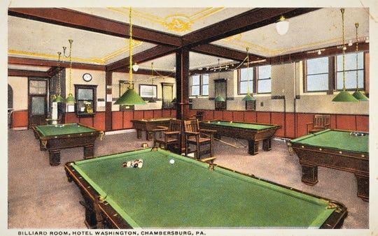 The Billiard room at the Washington Hotel in Chambersburg circa 1915