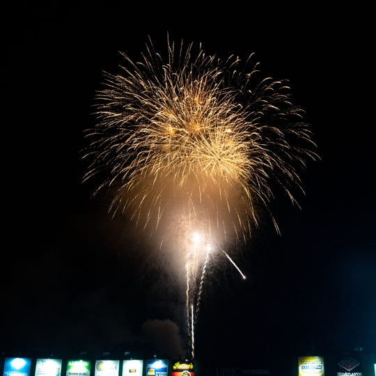 Yorkers watch fireworks during the Independence Day celebration at PeoplesBank Park, July 4, 2019.
