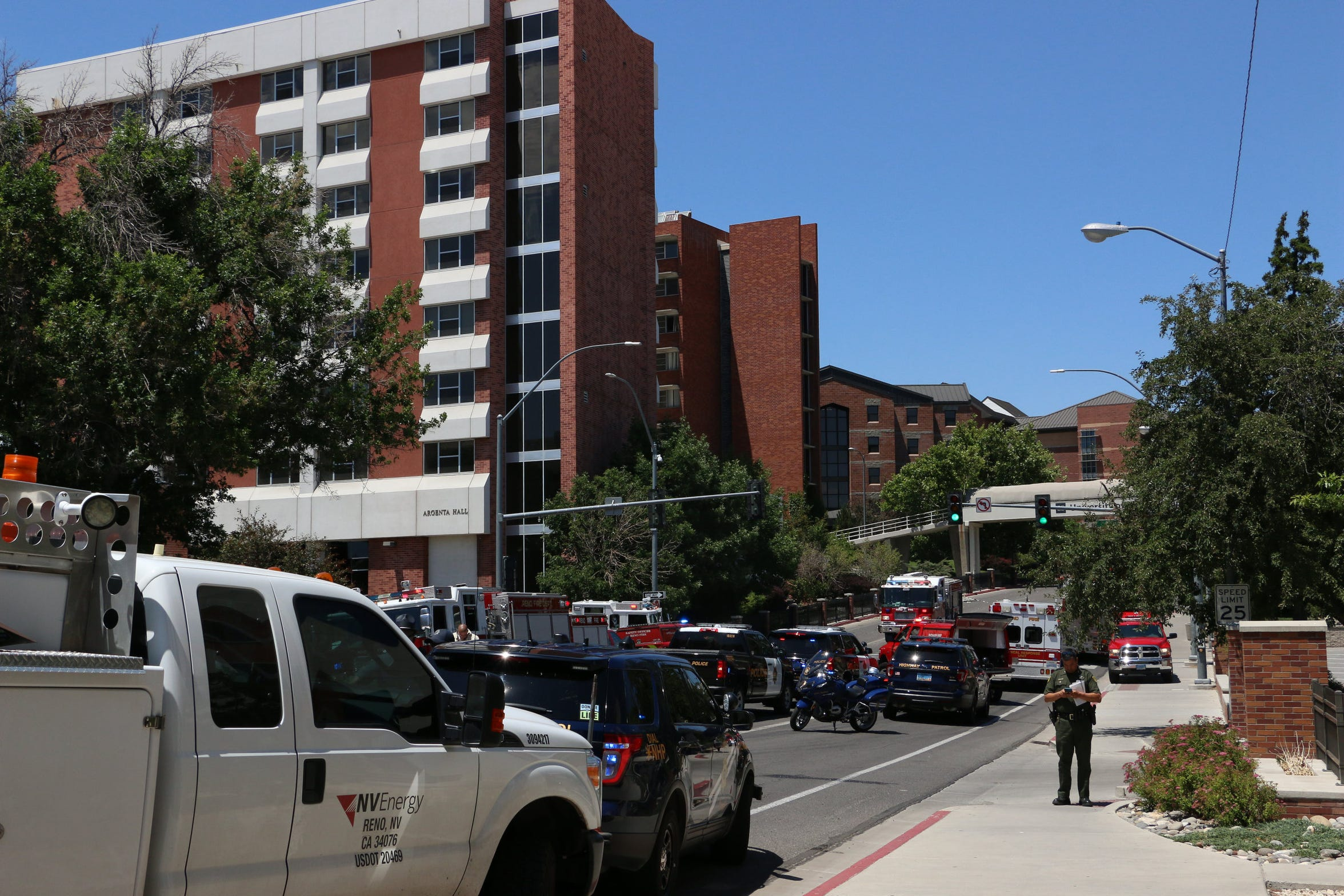 Rescue personnel respond to an explosion that damaged Argenta and Nye Halls on the University of Nevada, Reno campus on July 5, 2019.