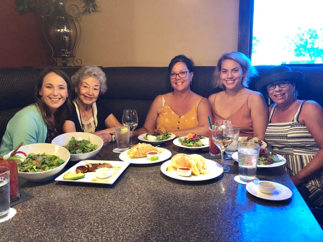 Family members Rhonna Griffin, left, Georgia Haddon, Lamara Kingston, Candace Kingston and Nanci Phillips enjoy a leisurely lunch at Clearie's Restaurant in downtown Redding.